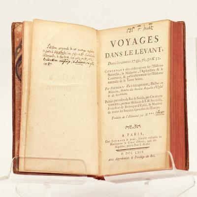 Voyages dans le Levant, dans les années 1749, 50, 51 & 52. Contenant des observations sur l'Histoire naturelle, la Médecine, l'Agriculture & le Commerce, & particulièrement sur l'histoire naturelle de la Terre Sainte. Traduit de l'Allemand par M.***.