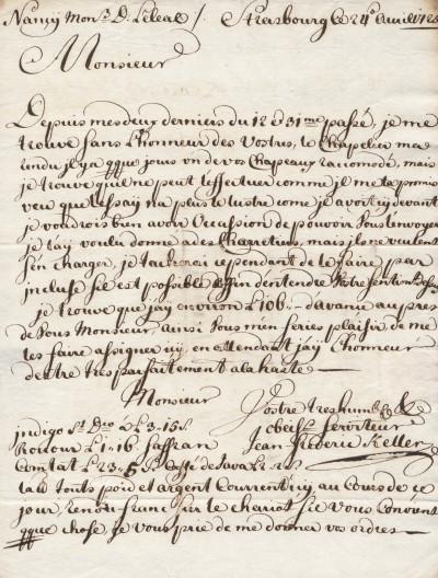 Lettre autographe signée adressée à un chapelier nancéen.