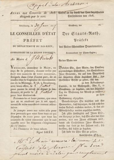 Réunion de deux appels aux Conscrits de 1808 désignés par le sort, et d'un appel aux conscrits de la classe de 1806.
