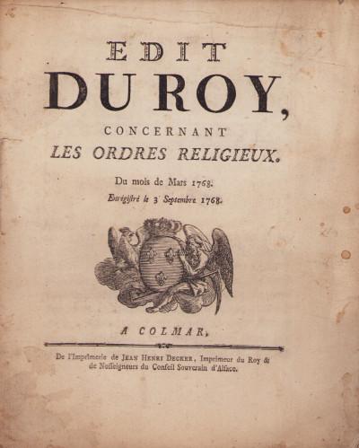 Edit du Roy, concernant les ordres religieux. Du mois de Mars 1768. Enregistré le 3 Septembre 1768.