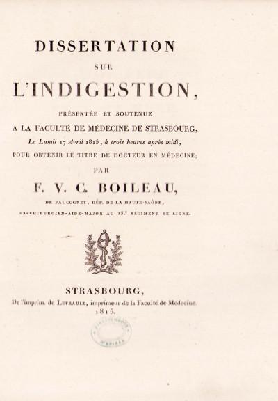 Dissertation sur l'indigestion.