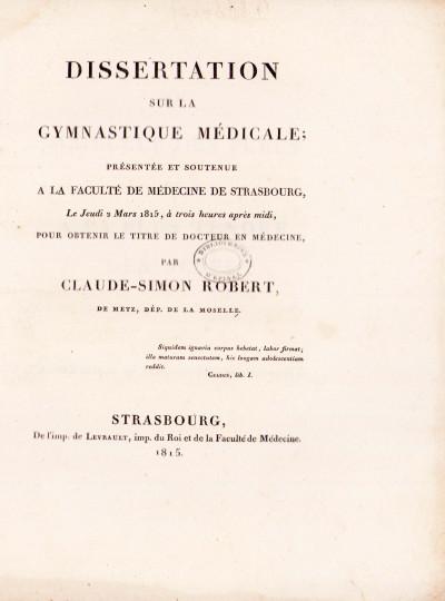 Dissertation sur la gymnastique médicale.