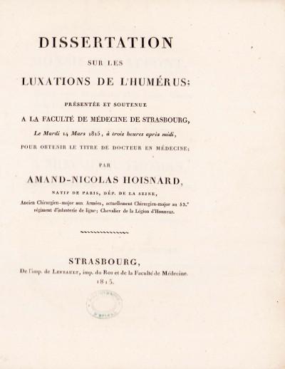 Dissertation sur les luxations de l'humérus.