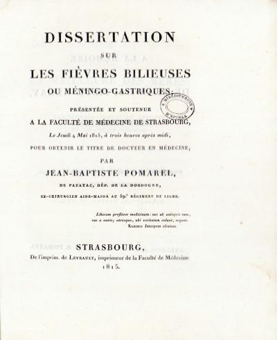 Dissertation sur les fièvres bilieuses ou méningo-gastriques.