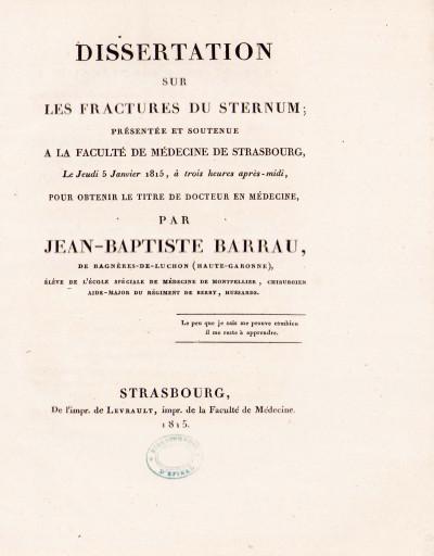 Dissertation sur les fractures du sternum.