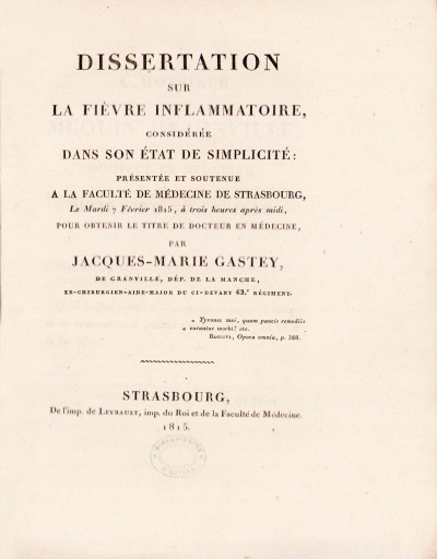 Dissertation sur la fièvre inflammatoire, considérée dans son état de simplicité.