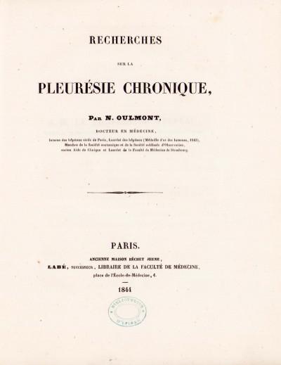 Recherches sur la pleurésie chronique.