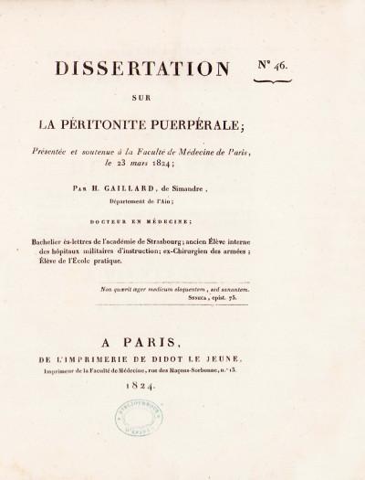 Dissertation sur la péritonite puerpérale.