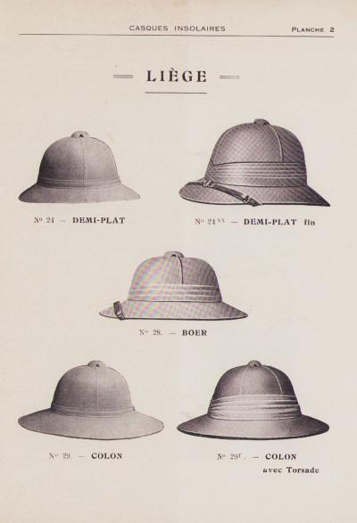 Casques insolaires. Tropical helmets. Cascos insolares. Tropenhelm. Ancienne maison Auguste Tongiori. Veuve Pascal Tongiorgi & Cie.