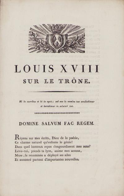 Louis XVIII sur le trône.