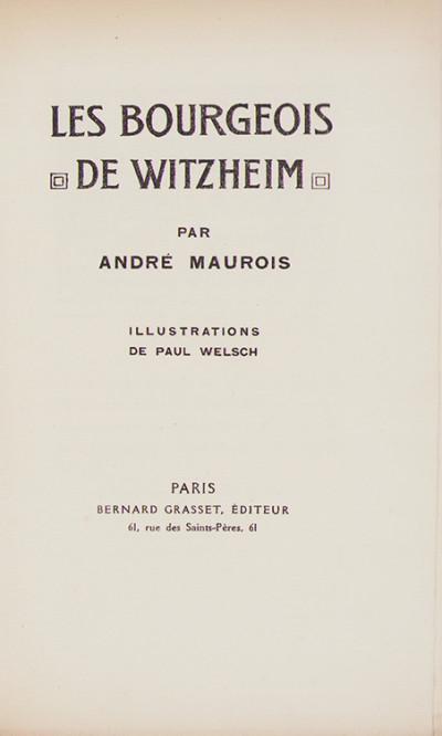 Les bourgeois de Witzheim. Illustrations de Paul Welsch.