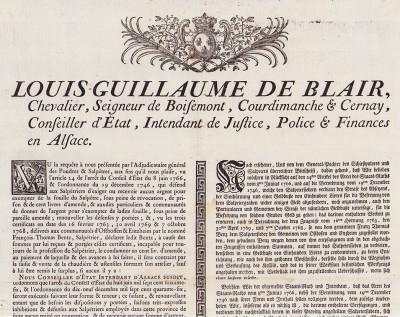 Placard: condamnation du Salpêtrier François-Thomas Bentz à 100 livres d'amendes et à l'interdiction d'exercer la profession de Salpêtrier.