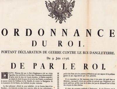 Ordonnance du roi, portant déclaration de guerre contre le roi d'Angleterre. Du 9 juin 1756.