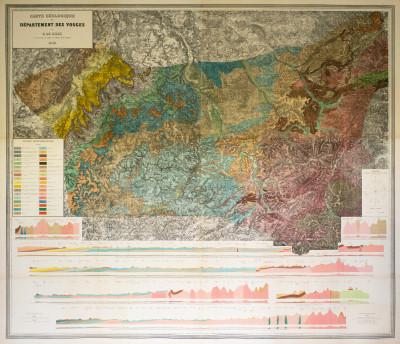 Carte géologique du département des Vosges par E. de Billy, ingénieur en chef au Corps des mines.