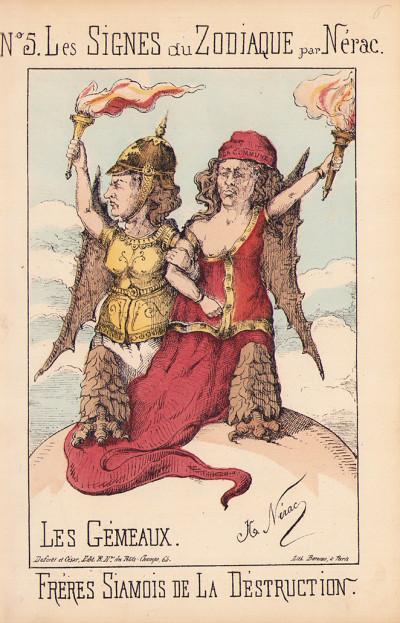 """Les signes du zodiaque par Nérac. Suivi de """"Jeu caméleonien"""". Suivi de """"Les événements de Paris""""."""