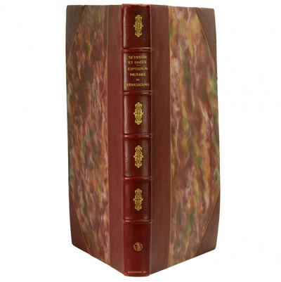 Album de l'Exposition militaire de la Société des amis des arts de Strasbourg. 33 planches en phototypie, avec texte explicatif.