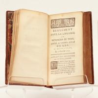 Code de la Librairie et Imprimerie de Paris, ou conférence du règlement arrêté au Conseil d'État du Roy, le 28 février 1723, et rendu commun pour tout le Royaume, par Arrêt du Conseil d'État du 24 mars 1744. Avec les anciennes ordonnances, édits, déclarations, arrêts, règlements & jugements rendus au sujet de la Librairie & de l'Imprimerie, depuis l'an 1332, jusqu'à présent.