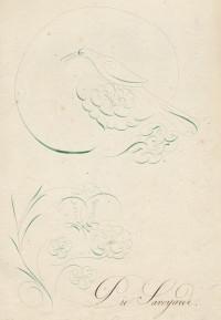 Suite de neuf dessins à la plume et d'un feuillet d'avertissement calligraphié.