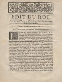 Édit du Roi, portant établissement de Droits sur les Cuirs dans les Duchés de Lorraine & de Bar. Donné à Versailles au moi de mai 1772.