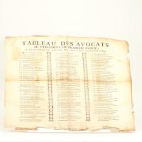 Tableau des Avocats au Parlement de Franche-Comté, à la rentrée de l'année mil sept cent soixante-cinq (sic).
