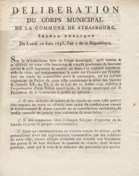 Délibération du Conseil municipal de la Commune de Strasbourg, séance publique du lundi 10 juin 1793, l'an 2 de la République.