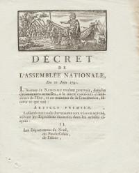 Décret de l'Assemblée Nationale, du 21 juin 1791, concernant la Garde nationale.