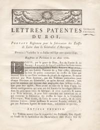 Lettres patentes du Roi, portant règlement pour la fabrication des étoffes de laine dans la généralité d'Auvergne.