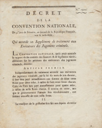 Décret de la Convention Nationale, du 3e jour de Frimaire, an second de la République Française, une & indivisible, qui accorde un supplément de traitement aux exécuteurs des jugements criminels.