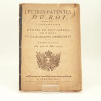 Lettres patentes du Roi portant confirmation des droits et privilèges du corps de la noblesse immédiate de la Basse-Alsace du mois de Mai 1779.
