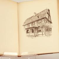 Das ewig schöne Elsass. XXVIII farbige Trachten-Bildtafeln, 83 Zeichnungen aus dem ländlichen Hof und Heim nach Aquarellen und Bleistiftzeichnungen.