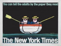 "Affiche originale lithographiée pour le New York Times : ""You can tell the adults by the paper they read""."