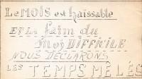 """Tract imprimé pour la création de la Revue Les Temps Mêlés: """"Le mois est haïssable et la faim du moi difficile nous déclarons les temps mêlés""""."""