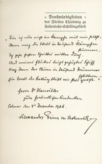 Denkwürdigkeiten des Fürsten Chlodwig zu Hohenlohe-Schillingsfürst. Im Auftrage des Prinzen Alexander zu Hohenlohe-Schillingsfürst herausgegeben von Friedrich Curtius.