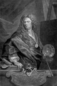 Gravure à la manière noire par Johann Jakob Haid, d'après l'autoportrait de Johann Rudolf Huber de 1710.