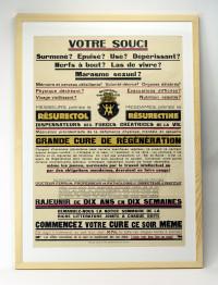 Affiche publicitaire pour le Résurectol et la Résurectine.