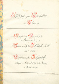 Gesellschaft zum Waagkeller in Colmar. Manuscrit.