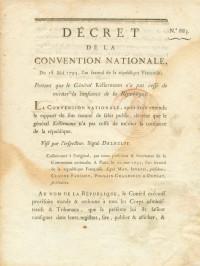 Un document manuscrit et deux décrets imprimés.