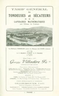 Tarif général des tondeuses et sécateurs. Lapidaires mathématiques pour l'Affutage des Tondeuses.