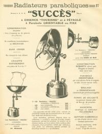 """Manufacture d'Appareils pour Éclairage-Cuisine-Chauffage par les Hydrocarbures Essence et Pétrole """"Succès""""."""