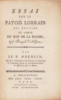 Essai sur le patois lorrain des environs du Comté du Ban de la Roche, fief royal d'Alsace.