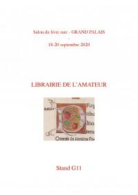 Liste des ouvrages exposés au Salon du livre rare   Grand Palais - Septembre 2020